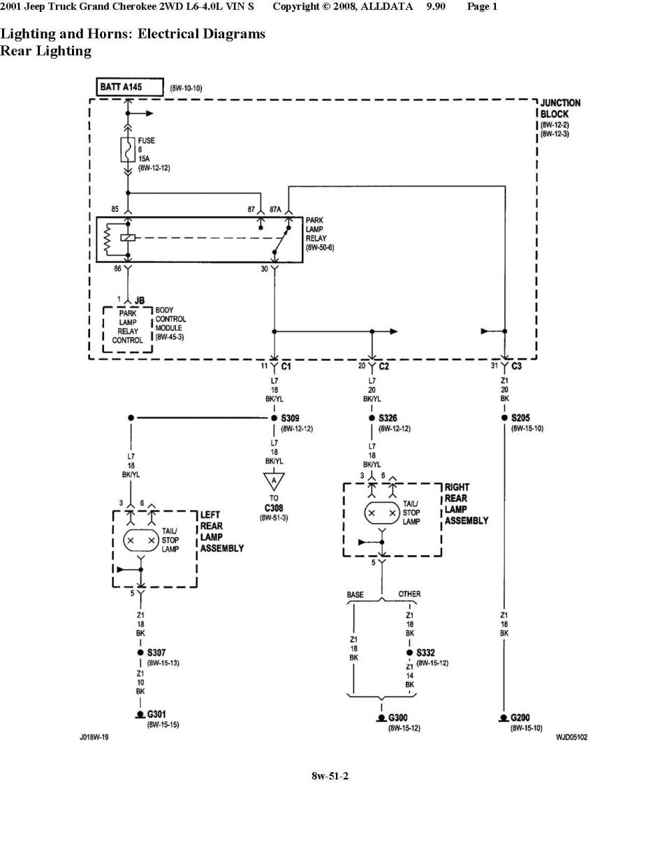 Taillight Problems On My Grandmother's Wj 7-Way Trailer Wiring Diagram Wj Jeep  Tail Light Wiring Diagram. Source. jeep grand cherokee ...