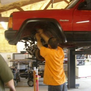working on jeep