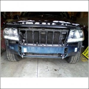 Bumper off on my WJ, putting on new towhooks
