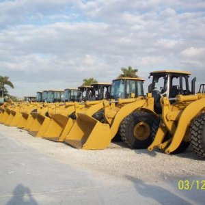 bunch of front end loaders