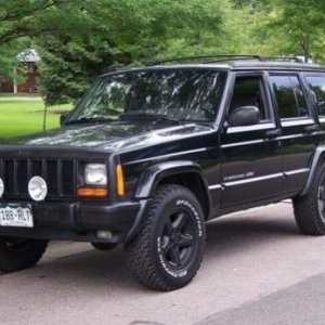 My XJ Stage 1a Hella 500's - BFG 30x9.50 A/T's Blacked out Grill, Nose, and Wheels